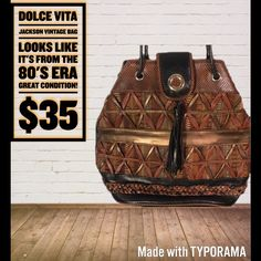 Dolce Vita Vintage Bag (Jackson) Awesome detail on this bag! Really well made! Make me an offer! Please be reasonable! Dolce Vita Bags Satchels