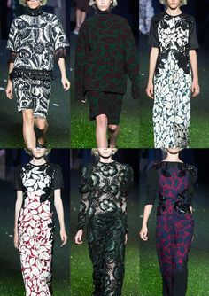 Marc Jacobs S/S 2014-Optical Black & White Florals – Dramatic Graphic Woodblock – Natural Elements – Large Scale Single Foliage – Graphic Form – Contrasting Colo...