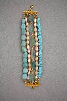 Bracelet of freshwater pearls, aquamarine chunks, and turquoise