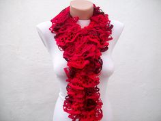 Red  Knit Scarf Winter Accessories Fall Fashion Frilly by nurlu