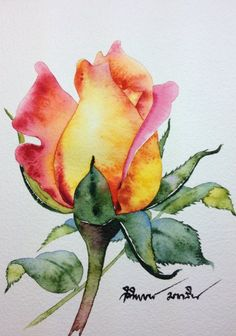 Painting is a real good stress buster. There are hundreds of Easy Watercolor Painting Ideas for Beginners that you can try out without any hassle. Find Art 55 Very Easy Watercolor Painting Ideas For Beginners - FeminaTalk Watercolour Tutorials, Watercolor Techniques, Art Floral, Pintura Graffiti, Art Sketches, Art Drawings, Rose Drawings, Abstract Drawings, Guache