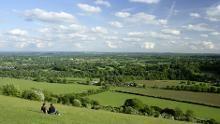 "Admiring the view at Box Hill, Surrey © ©NTPL/John Miller. ""Jane Austen film and TV"" (National Trust)."