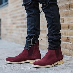 The Wine Crepe Chelsea Boots Chelsea Boots Outfit, Ankle Boots Men, Shoe Boots, Boots For Men, Style Masculin, Mens Boots Fashion, Dress With Boots, Stylish Men, Men Accessories