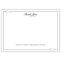 A scroll in bright colors adds charm to thank you notes with these flat cards.  70 for $52.90