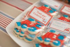 Adorable Red + Blue Choo Choo Train themed birthday party via Kara's Party Ideas KarasPartyIdeas.com Printables, cake, desserts, favors, supplies, and more! #choochootrain #trainparty (32)