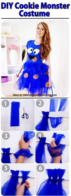 The Joy of Fashion: {Halloween}: Cute Homemade Cookie Monster Costume Homemade Costumes, Homemade Halloween, Halloween Kostüm, Halloween Costumes For Teachers, Diy Halloween Costumes For Women, Cookie Monster Halloween Costume, Cookie Costume, Halloween Cookies, Tutorial Fantasia