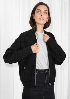 & Other Stories image 2 of Wool & Mohair Bomber Knit in Black