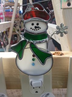 Stained Glass Snowman Night Light by VioletGlass123 on Etsy, $25.00
