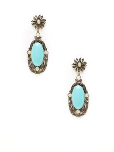 Diamond, Opal, & Turquoise Geometric Drop Earrings by Karma Jewels at Gilt