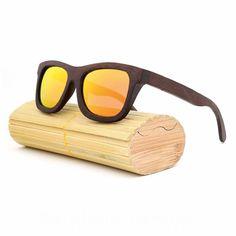 c5b594a56e Handcrafted Bamboo Polarized Sunglasses Brown Mirror Orange Bamboo