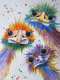 original colorful emu painting by marjansart ostrich art emu