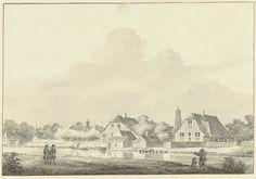 Hendrik Gerbrand Schutter | Twee boerderijen aan de Kromme Rijn bij Utrecht, Hendrik Gerbrand Schutter, 1756 | Twee boerderijen aan de Kromme Rijn bij Utrecht; in de verte de Domtoren.