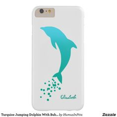 Turquise Jumping Dolphin With Bubbles Phone Case Barely There iPhone 6 Plus Case