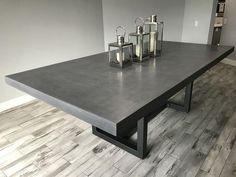 Dining Table, 10 Person X X 3 Inches Thick, Concrete / Steel by Scott Fisher Table Beton, Concrete Dining Table, 10 Person Dining Table, Dining Room Table, Kitchen Tables, Custom Dining Tables, Table And Chair Sets, Home Furnishings, Home Furniture