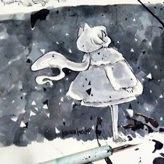 Snowfall  featuring the ink I spilled the other day  . #sketchbook #inktober #drawing #ink #art #drawing #painting