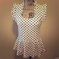 Shop Women's Anthropologie Black White size M Tops at a discounted price at Poshmark. Description: You can't get any cuter then this polka dot peplum top from Anthropologie! Ruffled scoop neck and sleeves. Worn once, perfect condition. So fab!!!. Sold by nrocco29. Fast delivery, full service customer support.