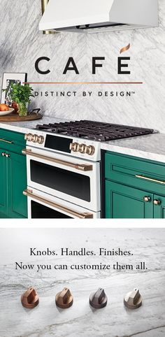 Introducing Café. The customizable appliance. Now your entire kitchen suite, from your pro range to your refrigerator, can reflect your personal style. Choose either Matte White or Matte Black for your finish. And, from Brushed Copper, Brushed Bronze, Brushed Black or Brushed Stainless for your handles and knobs. Café. Distinct by design. Minimalist Interior, Minimalist Kitchen, Minimalist Decor, Minimalist Bedroom, Minimalist Living, Kitchen Faucets, Kitchen Reno, Kitchen Remodel, Kitchen Appliances