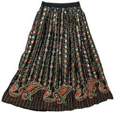 Mogul\ Interior Womens Bohemian Black Beaded Lehenga Print Skirt... ($19) ❤ liked on Polyvore featuring skirts, bottoms, gypsy, boho skirt, see through skirt, flared skirt, sheer black skirt and sexy black skirt