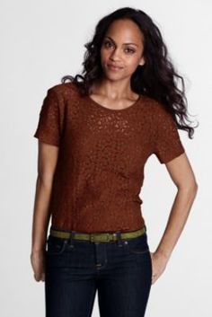 6b325a7072a6a Women s Regular Short Sleeve Lace Tee from Lands  End Lace Knitting