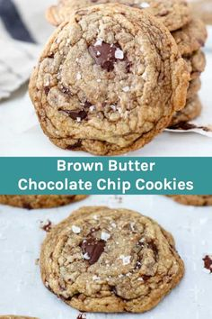 These Soft and Chewy Brown Butter Chocolate chip cookies are made with a nutty brown butter, chunks of dark chocolate and a touch of sea salt on top. They are perfectly crispy on the edges but soft and chewy in the middle. Salted Chocolate Chip Cookies, Perfect Chocolate Chip Cookies, Oatmeal Chocolate Chip Cookies, Dark Chocolate Chips, Chocolate Ganache, Brown Butter Cookies, Homemade Chocolate, Homemade Snickers, Sea Salt