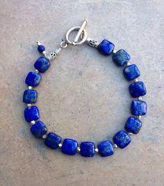 Lapis Lazuli Bracelet by EastVillageJewelry on Etsy, $30.00 Go Team USA!  www.eastvillagejewelry.etsy.com