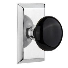 Nostalgic Warehouse Black Porcelain Double Dummy Door Knob With Studio  Plate Finish: Bright Chrome