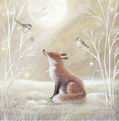 Gentle, kind and very nice illustration of Sarah Summers. Discussion on LiveInternet - Russian Service Online diary Christmas Animals, Christmas Pictures, Christmas Art, Fuchs Illustration, Cute Illustration, Friends Illustration, Fox Art, Christmas Illustration, Woodland Creatures