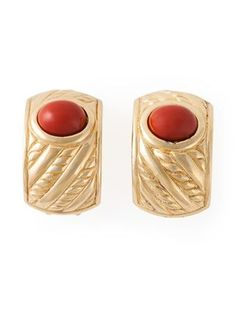 Christian Dior Vintage Painted Stone Clip On Earrings - Rewind Vintage Affairs - Farfetch.com