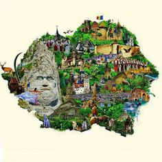 Another illustrated map of Romania (from before Romania Map, Visit Romania, Romania Travel, Visual Map, Eastern Europe, Diy And Crafts, Clip Art, Country, 1 Decembrie