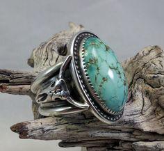 Kingman Turquoise Buffalo Skull Mens Ring by txrockhound on Etsy, $120.00