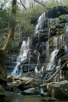 Yellow Branch Falls, Sumter National Forest, SC, USA. 60 feet of multiple irregular rocky ledges make for a spectacular waterfall, especially after a period of rain.  If it hasn't rained for some time, the falls may be just a trickle of water over a series of ledges.