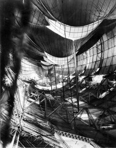 U.S.S. Macon being inflated (rare view of the interior of the airship's envelope).