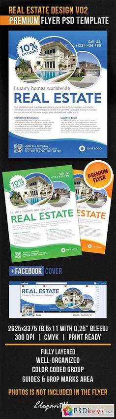 Real Estate Design V02 Flyer PSD Template + Facebook Cover