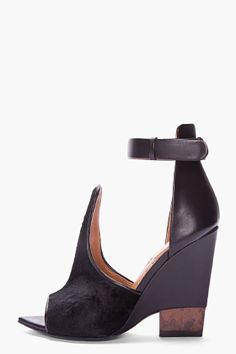 GIVENCHY Black Calf-hair Podium Sandals