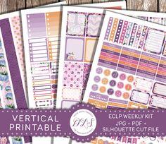 Planner Stickers for ECLP VERTICAL Printable Weekly Kit Watercolor Flowers Roses…