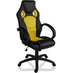 Office Chair Racing Style Yellow Sports Seat Deskchair Swivel Seat