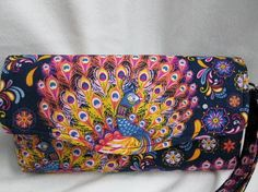 N C W  Purse / Cell Phone Wallet / Peacock by JosieeDesigns