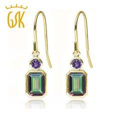 GemStoneKing Solid 14K Yellow Gold  Drop Earrings (2.20 cttw) Octagon Green Mystic Topaz & Purple Amethyst Women's Earrings