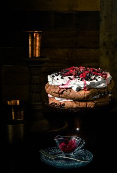Chocolate Pavlova with Raspberry compote and cream Raspberry Pavlova, Meringue Pavlova, Meringue Desserts, Just Desserts, Chocolate Pavlova, Chocolate Lasagna, Chocolate Day, Chocolate Roulade, Australian Desserts