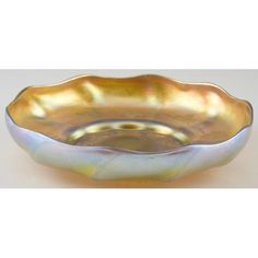 Signed Tiffany Favrile Art Glass Low Bowl Sold $1,500