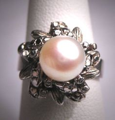Authentic Vintage Pearl Engagement Ring - ETSY $385