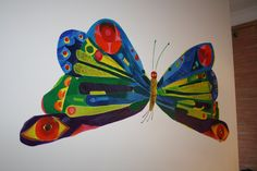 I'm DYING to paint a mural of the Eric Carle (Hungry Caterpillar) Butterfly! Butterfly Wall Art, Butterfly Wallpaper, Butterfly Wings, Graffiti Wall Art, Mural Art, Hungry Caterpillar Nursery, Garden Mural, Flower Mural, School Murals