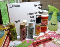 Mixed-Media Supplies- Great step by step TUTORIAL....on creating a canvas.