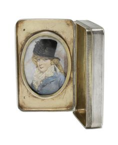 A 19th century Dutch silver snuff box with inset miniature of a lady possibly by Andries Claassen, Amsterdam 1823