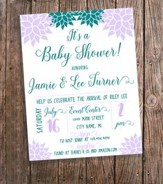 Baby Shower Invitation for a Girl  Purple by BluePandaInvitations
