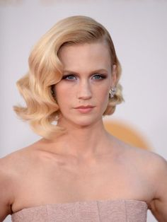 January Jones Hair Waves- this is what I am considering for my wedding hair style!