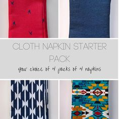 Napkin Starter Set, 16 Assorted Cloth Dinner Napkins, Modern Cloth Napkins, Everyday Cloth Napkins Multi-pack, Reusable Napkin Multi-pack by 90West on Etsy