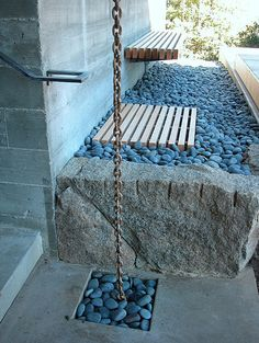 River rock on side of walkway to backyard to wash dogs, rinse trash bins, create an outdoor shower, etc. Rain Gutter Chains, Modern Landscaping, Home Design, Design Design, Interior Design, Garden Inspiration, Outdoor Gardens, Landscape Design, Backyard