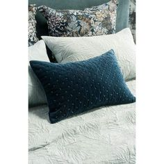 Mica indigo cushion with Fougere bedspread and Giardino indigo eurocases Blue Bedding, Linen Bedding, Bed Linens, Bed Linen Design, Bed Design, Winter Flowers, Velvet Cushions, Fine Linens, Cotton Velvet