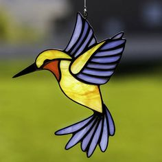 stained glass hummingbird suncatcher, stain glass blue and yellow hummingbird ornament on Etsy